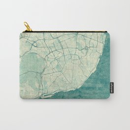 Lisbon Map Blue Vintage Carry-All Pouch