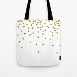 Gold Hearts Tote Bag