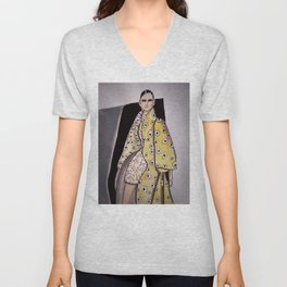 Anna In Floral Spring Haute Couture (Close-Up) By James Thomas Ryan Unisex V-Neck