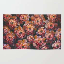 Red violet flowers rose peony oil painting by artist Valery Rybakow! Rug