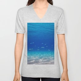 School of Fish Swimming over Sand Bottom in the Tropical Sea Unisex V-Neck