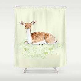 Happy Fallow Deer Shower Curtain