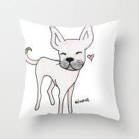 minnie Throw Pillows featuring Minnie by Daynasdoodleydoos