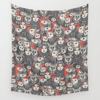 sweater Wall Tapestries featuring sweater mice coral by Sharon Turner