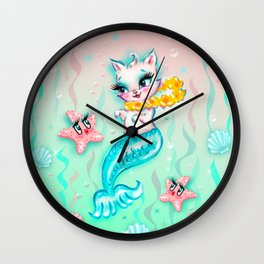 Tropical Merkitten with Lei and Starfish Wall Clock