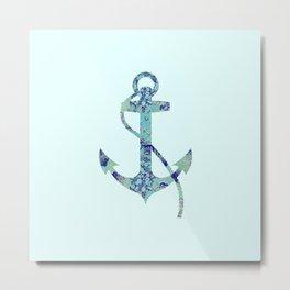 Anchor Vintage Floral Pattern Nautical Navy Blue Aqua Mint Shabby Chic Metal Print