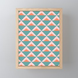 Colorful Triangle Pattern in Teal, Pink, and Orange Framed Mini Art Print