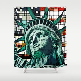 Patriotic Statue of Liberty Shower Curtain