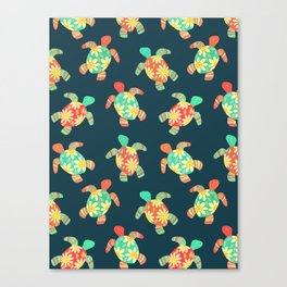 Cute Flower Child Hippy Turtles Canvas Print
