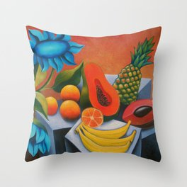 Cuban fruits with blue flowers Throw Pillow