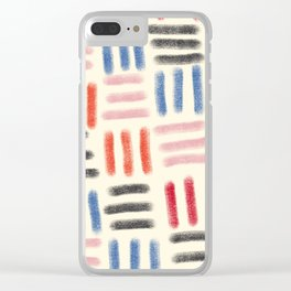 Red, Pink, and Blue Dash Mud Cloth Clear iPhone Case
