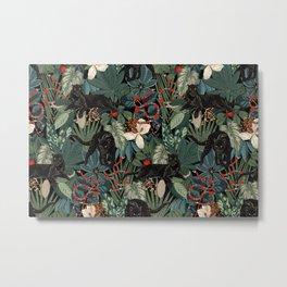 Tropical Black Panther Metal Print