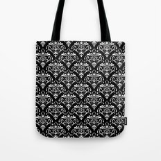 damask pattern back and white Tote Bag