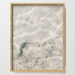 Clear water | beach fine art photography | sea wave and sand Serving Tray