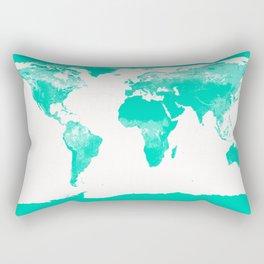 World Map Mint Turquoise Rectangular Pillow
