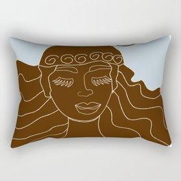 Magical Winter lineart - chocolate and blue Rectangular Pillow
