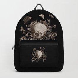 BLACK GOTHIC FLORAL SKULL Illustration Backpack