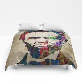 Abraham Lincoln Watercolor Modern Abstract GIANT PRINT ART Comforters