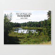 Not All Those Who Wander Are Lost Inspirational Quote Color Photo Canvas Print