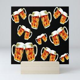 Beers forever-Black Mini Art Print