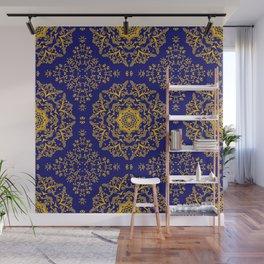 golden mandala pattern on the dark blue background Wall Mural