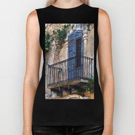 Blue Sicilian Door on the Balcony Biker Tank