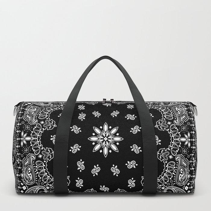black and white bandana pattern Duffle Bag