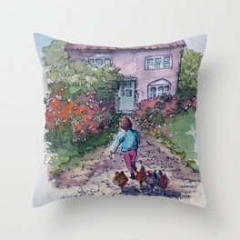 Spring Chickens in the Country Throw Pillow