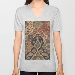 Geometric Leaves I // 18th Century Distressed Red Blue Green Colorful Ornate Accent Rug Pattern Unisex V-Neck