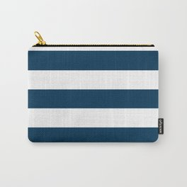 Prussian blue - solid color - white stripes pattern Carry-All Pouch