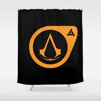 assassins creed Shower Curtains featuring Assassins Life by AngoldArts