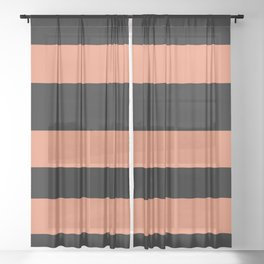 Fringe Orange, Orange Slice, Fiery Sky, Heirloom Tomato Hand Drawn Fat Horizontal Lines on Black Sheer Curtain