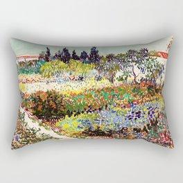 Vincent Van Gogh Flowering Garden Rectangular Pillow