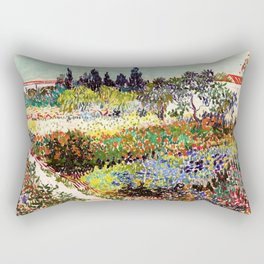 Vincent Van Gogh Flowering Garden Rectangular Pillow