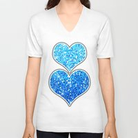 sparkles V-neck T-shirts featuring Blue Glitters Sparkles Texture by Tees2go