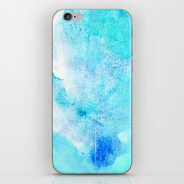 Artistic turquoise aqua teal watercolor paint iPhone Skin