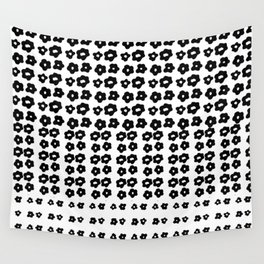 black flowers on a white background art Wall Tapestry