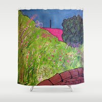 lara croft Shower Curtains featuring View from Croft House by BenjaRenouleaud