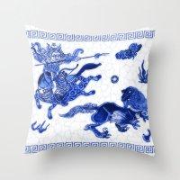 bouletcorp Throw Pillows featuring Utahraptor Hunt by Bouletcorp