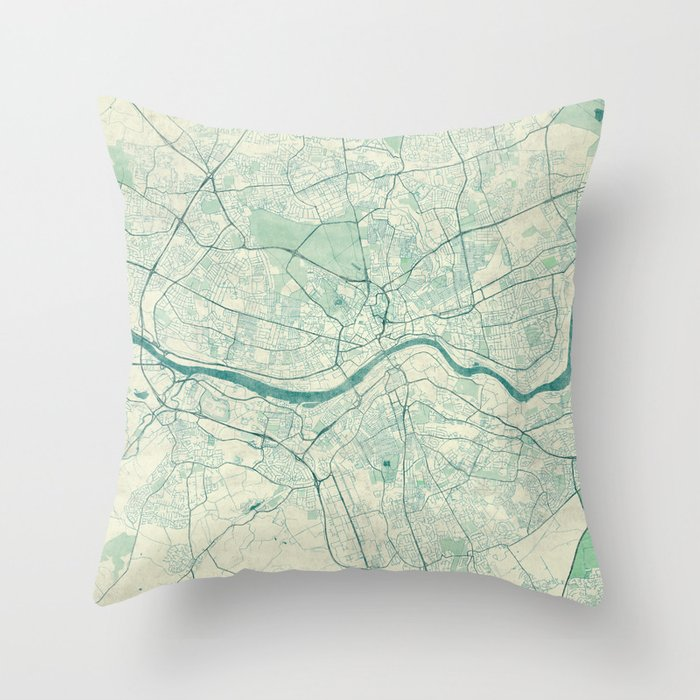 Newcastle Upon Tyne Blue Vintage Throw Pillow By Hubertroguski Society6