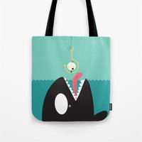 orca Tote Bags featuring orca by Alfonso Cervantes