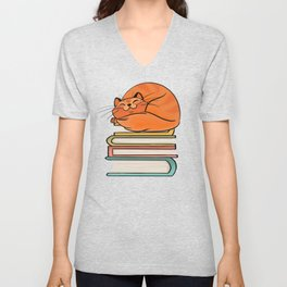 With Books And Cats Life Is Sweet Unisex V-Neck