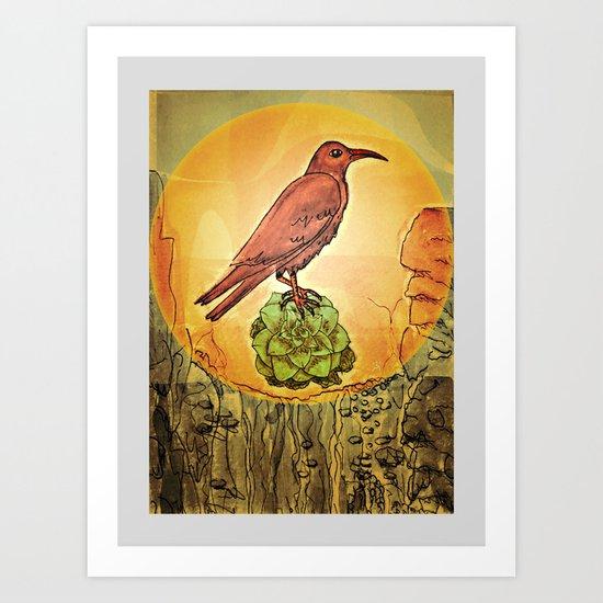 NATURE / BIRD and SUCCULENT Art Print