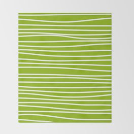 Apple Green & White Maritime Hand Drawn Stripes- Mix & Match with Simplicity of Life Throw Blanket