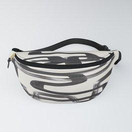 Mid Century Modern Minimalist Abstract Art Brush Strokes Black & White Ink Art Pipe Maze Fanny Pack