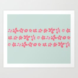 Daisy Chain in Petal Pink and Mint Green Art Print