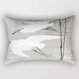 Egrets flying over the swamp - Japanese vintage woodblock print art Rectangular Pillow