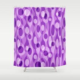Purple Mid Century Modern Oval Geometric Shower Curtain