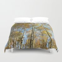 birch Duvet Covers featuring Birch forest by Tanja Riedel