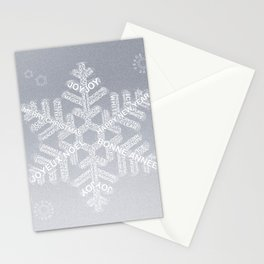 Typographic Snowflake Greetings - Silver Grey Stationery Cards
